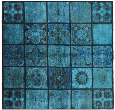 Square Hand Knotted Overdyed Full Pile Stained Glass Area Rug