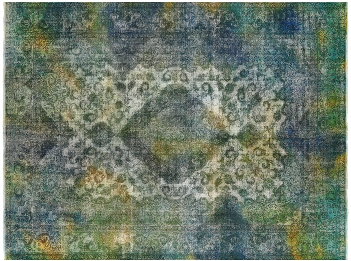 Rainbow Persian Overdyed Hand Knotted Wool Area Rug