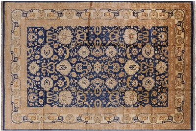 Blue Hand Knotted Wool Peshawar Rug