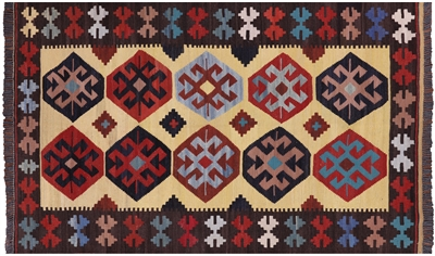 Flat Weave Reversible Kilim Wool on Wool Rug