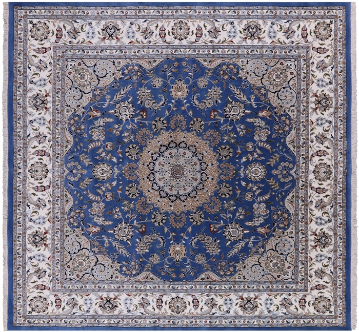 Square Persian Nain Wool & Silk Hand Knotted Area Rug