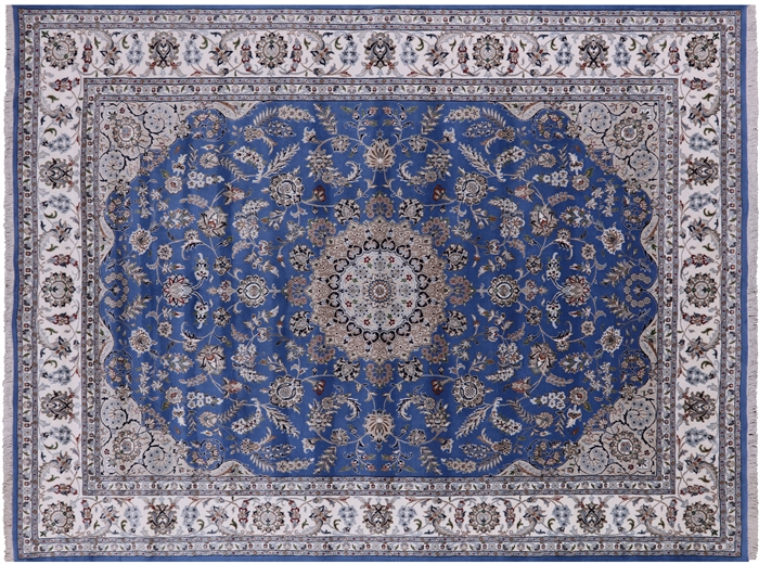 Persian Nain Wool & Silk Hand Knotted Area Rug