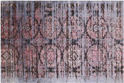 Hand Knotted Persian Silk With Oxidized Wool Area Rug