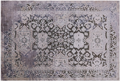 Silk With Oxidized Wool Persian Handmade Area Rug