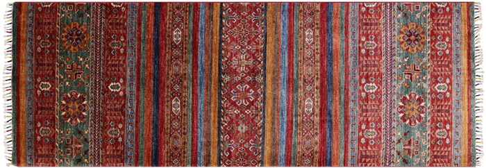 Super Kazak Hand Knotted Runner Rug