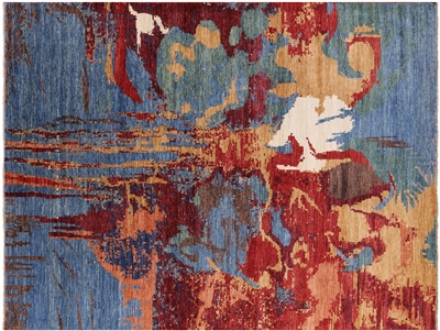 Abstract Modern Hand Knotted Wool Rug