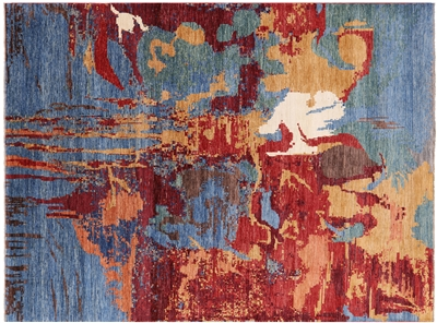 Hand Knotted Wool Abstract Modern Rug