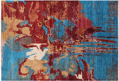 Hand Knotted Wool Abstract Modern Area Rug