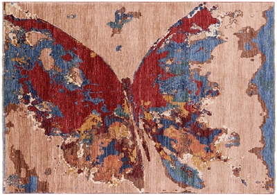 Modern Butterfly Hand Knotted Wool Rug