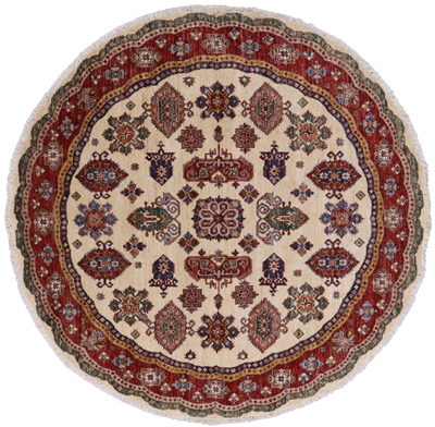 Round Super Kazak Hand Knotted Wool Area Rug