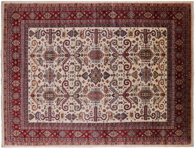 Signed Super Kazak Hand Knotted Wool Area Rug
