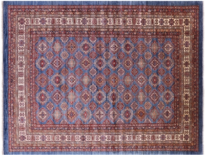 Blue Super Kazak Hand Knotted Wool Area Rug