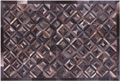Cowhide Hand Stitched Patchwork Rug