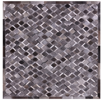 Square Cowhide Hand Stitched Patchwork Area Rug