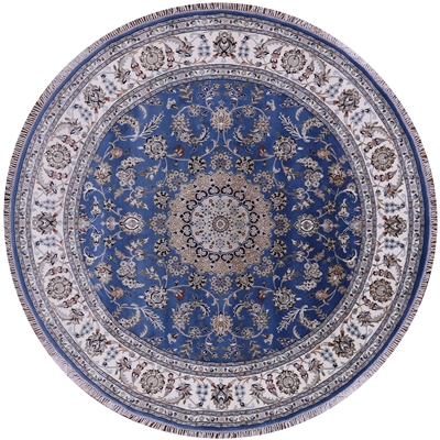Wool & Silk Round Persian Nain Rug