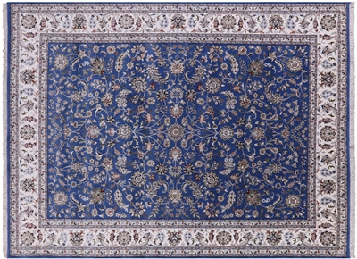 Blue Persian Nain Wool & Silk Rug