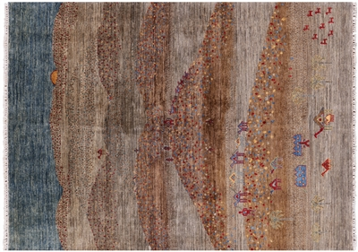 Tribal Persian Gabbeh Hand Knotted Wool Area Rug