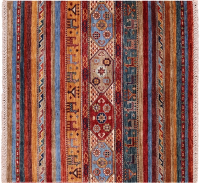 Square Persian Gabbeh Hand Knotted Wool Area Rug