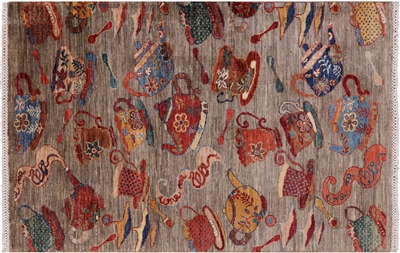Tea Party Persian Gabbeh Hand Knotted Area Rug