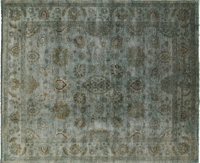 Full Pile Wool Overdyed Hand Knotted Area Rug