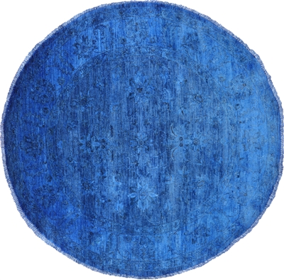 Round Overdyed Full Pile Wool Hand Knotted Rug