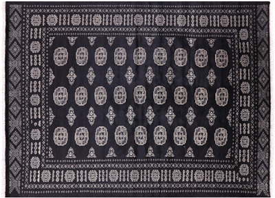 Black Bokhara Hand Knotted Wool Area Rug
