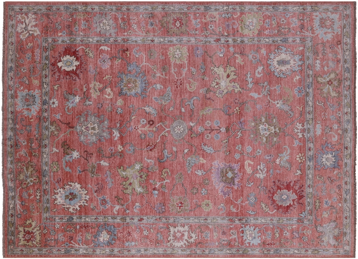Turkish Oushak Hand Knotted Wool On Wool Rug
