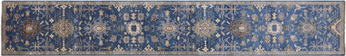 Hand Knotted Blue Fine Serapi Runner Rug