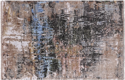 Hand-Knotted Contemporary Wool & Silk Area Rug