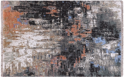 Abstract Wool & Silk Hand-Knotted Rug