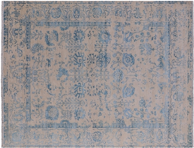 Hand-Knotted Persian Wool & Silk Area Rug