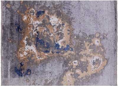 Wool & Silk Abstract Hand-Knotted Rug