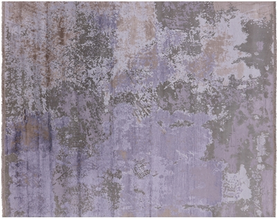 Abstract Wool & Silk Hand-Knotted Area Rug