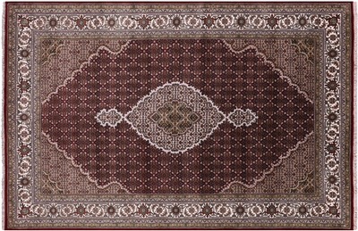 Wool & Silk Persian Tabriz Hand Knotted Rug