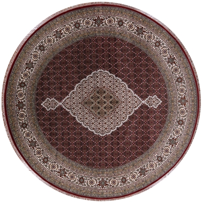 Round Wool & Silk Persian Tabriz Area Rug