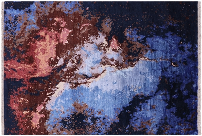 Abstract Contemporary Hand Knotted Wool & Silk Rug