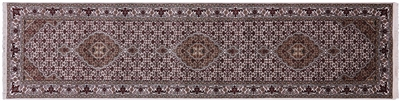 Runner Wool & Silk Persian Tabriz Hand-Knotted Rug