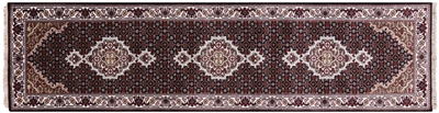 Runner Persian Tabriz Wool & Silk Hand-Knotted Rug