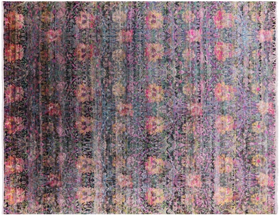 Hand-Knotted Contemporary Silk Area Rug