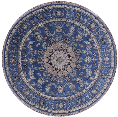 Round Wool & Silk Persian Nain Rug