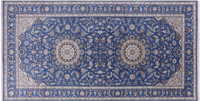 Hand-Knotted Persian Nain Wool & Silk Rug