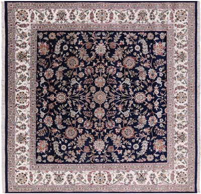 Square Persian Nain Wool & Silk Handmade Rug