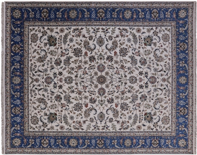 Persian Nain Hand-Knoted Wool & Silk Area Rug