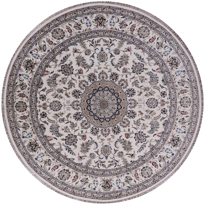 Round Persian Nain Wool & Silk Rug