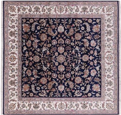 Square Hand-Knotted Persian Nain Wool & Silk Rug