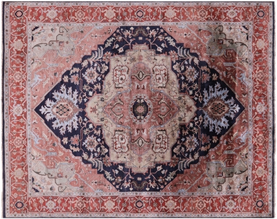 Hand-Knotted Persian Serapi Silk Area Rug