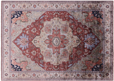 Persian Serapi Hand Knotted Silk Area Rug