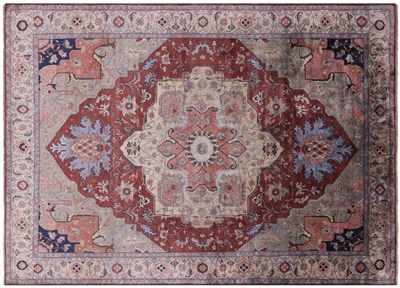 Hand-Knotted Silk Persian Serapi Area Rug