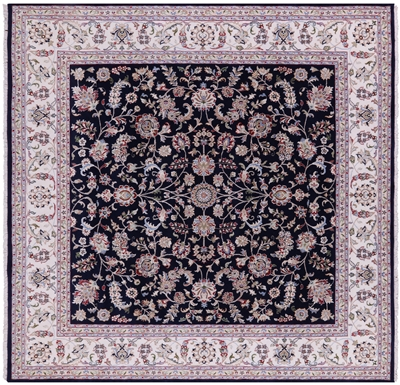 Square Persian Nain Handmade Wool & Silk Rug
