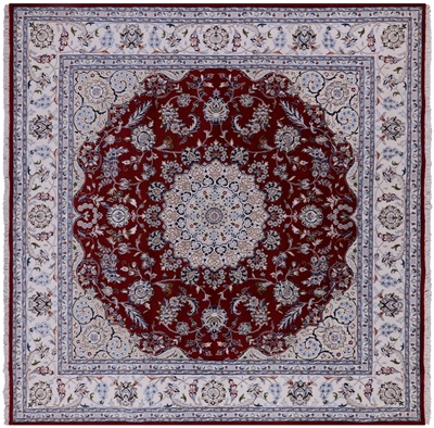 Square Persian Nain Wool & Silk Hand-Knotted Rug